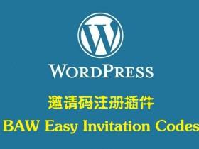 邀请码注册 BAW Easy Invitation Codes中文汉化版 —— WordPress插件