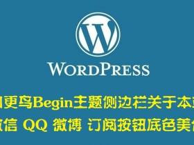 知更鸟Begin主题侧边栏关于本站 微信 QQ 微博 订阅按钮底色美化